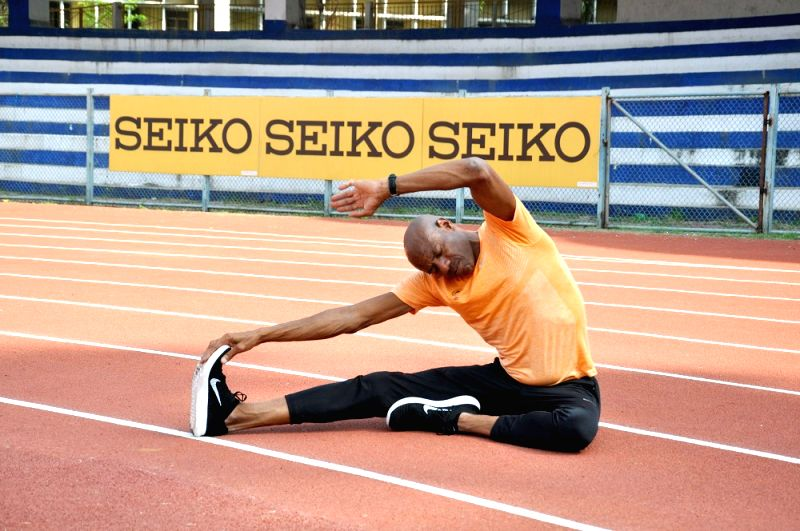 Former American track and field athlete Mike Powell during a practice session ahead of the TCS World 10K run at Kanteerva Stadium, in Bengaluru on May 13, 2016.