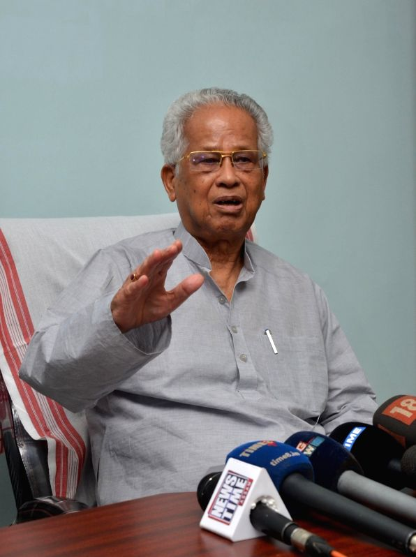 Former Assam Chief Minister and Congress leader Tarun Gogoi addresses a press conference, in Guwahati, on July 31, 2018.