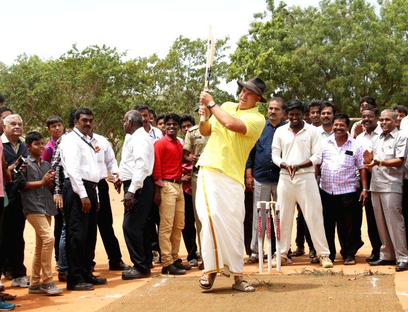 Former Australia cricketer Matthew Hayden, plays cricket during his visit to Madurai ahead of the Tamil Nadu Premier League (TNPL) 2017 on July 17, 2017.