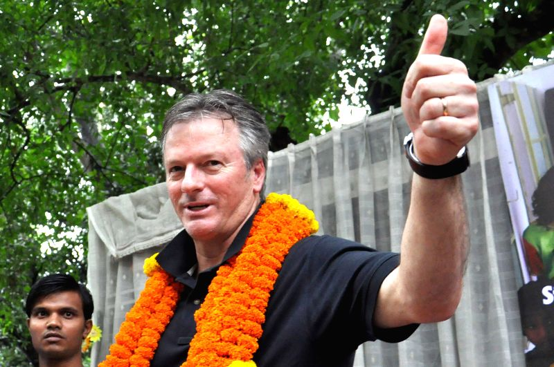 Former Australian cricket captain Steve Waugh visit ``Udayan`` to open new extension to girls building in West Bengal, Kolkata on August 6, 2013.