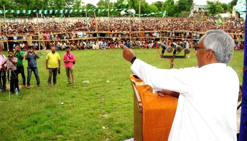 Former Bihar Chief Minister and JD-U leader Nitish Kumar addresses during a  rally in Parbatta of Khagaria district of Bihar on Aug 13, 2014.