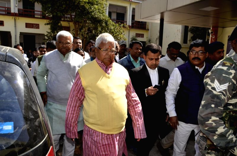 Former Bihar Chief Minister and RJD supremo Lalu Prasad Yadav being produced at the special CBI Court in Ranchi on Jan 31, 2018. - Lalu Prasad Yadav