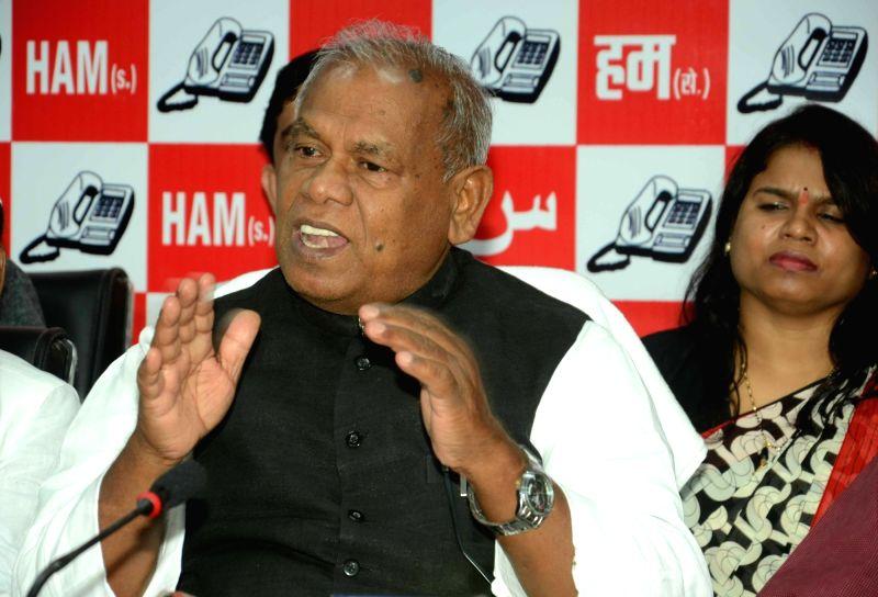 Former Bihar Chief Minister Jitan Ram Manjhi during a press conference in Patna on July 23, 2016. - Jitan Ram Manjhi