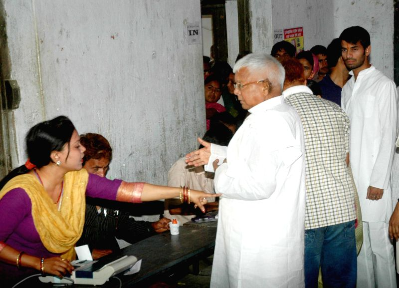 Former Bihar Chief Minister Lalu Prasad Yadav at a polling booth during the fifth phase of 2014 Lok Sabha Polls in Patna on April 17, 2014.