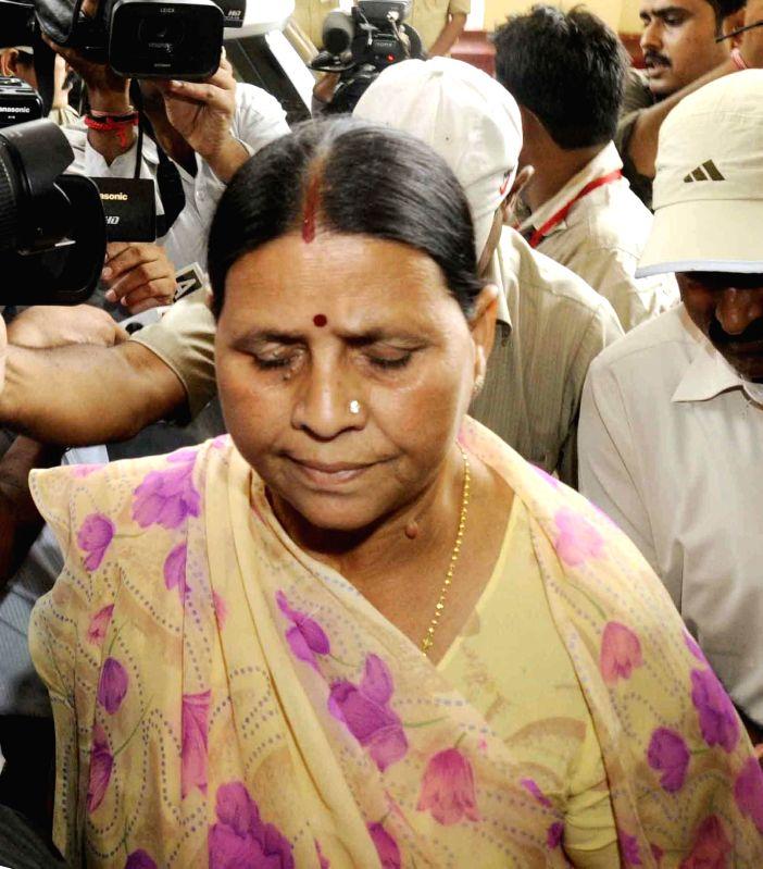 Former Bihar chief minister Rabri Devi arrives at Bihar Legislative Council in Patna on July 17, 2014.