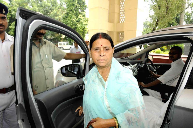 Former Bihar chief minister Rabri Devi arrives at Bihar Legislative Council in Patna on July 25, 2014.