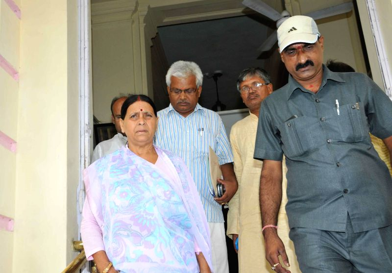 Former Bihar chief minister Rabri Devi arrives at Legislative Council in Patna on July 17, 2014.