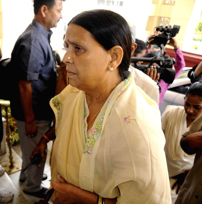 Former Bihar chief minister Rabri Devi arrives to attend the Monsoon Session of Bihar Legislative Council in Patna on July 10, 2014.