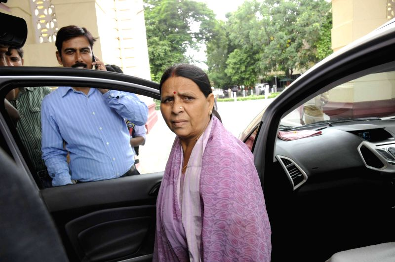 Former Bihar chief minister Rabri Devi arrives to attend the Monsoon Session of Bihar Legislative Council in Patna on July 21, 2014.