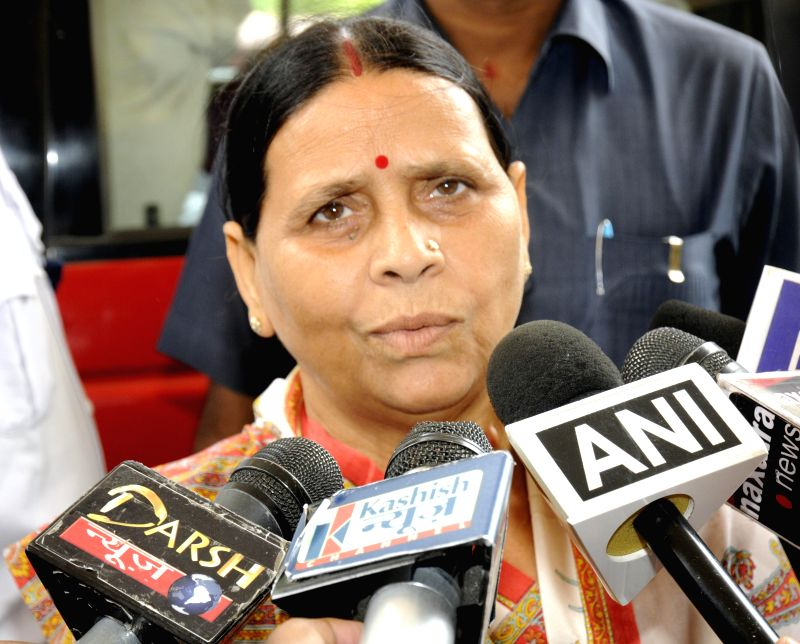 Former Bihar chief minister Rabri Devi talks to mediapersons at Bihar Legislative Council in Patna on July 15, 2014.