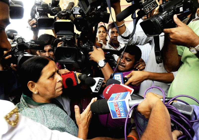Former Bihar chief minister Rabri Devi talks to mediapersons at Bihar Legislative Council in Patna on July 23, 2014.