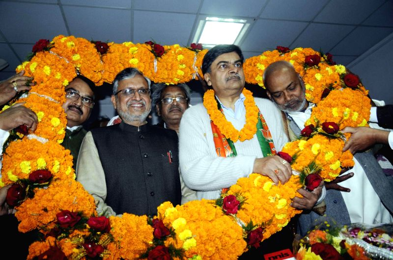 Sushil Kumar Modi with R K Singh at BJP office