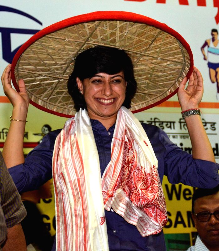 Former captain of Indian Women's cricket team Anjum Chopra being felicitated during 31st Abhiruchi Sports Day organised on the birthday of Bhogeswar Barua in Guwahati on Sept 3, 2014.