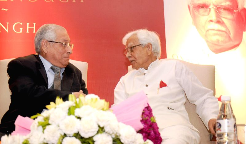 Former Congressman Natwar Singh with former Attorney General Soli Sorabjee during release of his biography `One Life Is Not Enough`  in New Delhi on Aug 7, 2014. - Congressman Natwar Singh