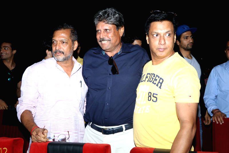Former cricket player Kapil Dev, actor Nana Patekar and filmmaker Madhur Bhandarkar during the trailer launch of film Sunshine Music Tours and Travels in Mumbai on July 25, 2016. - Nana Patekar and Kapil Dev
