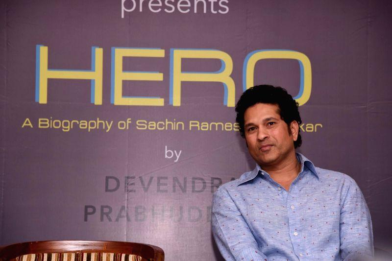 "Former cricket player Sachin Tendulkar during the launch of book ""Hero: A Biography of Sachin Ramesh Tendulkar"" in Mumbai on April 27, 2017. - Sachin Tendulkar"