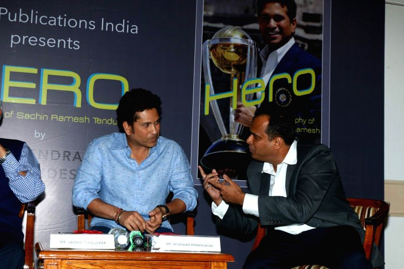 "Former cricket player Sachin Tendulkar during the launch of book ""Hero: A Biography of Sachin Ramesh Tendulkar"" in Mumbai on April 27, 2017. - Sachin Tendulkar"