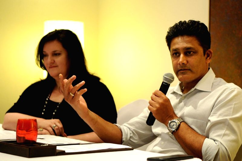 "Former cricketer Anil Kumble addresses during ""Understanding ""Hybrid as a Mindset: The Indian Context"" a programme organised by Impris-Research and Advocacy in Bengaluru on ..."