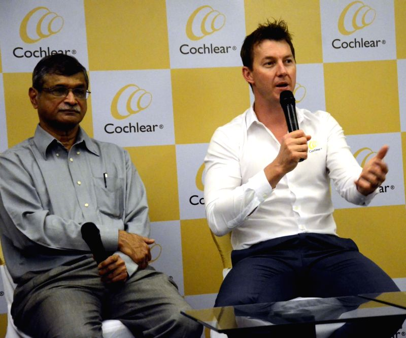 Former cricketer Brett Lee addresses a press conference in Mumbai, on Oct 29, 2015.
