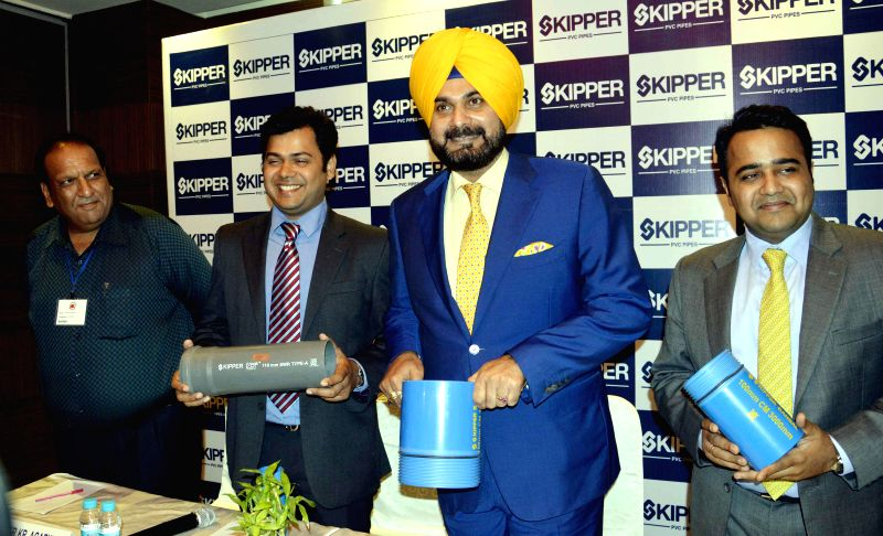 Former cricketer Navjot Singh Sidhu at the launch of a PVC pipes in Patna on Aug 27, 2014.
