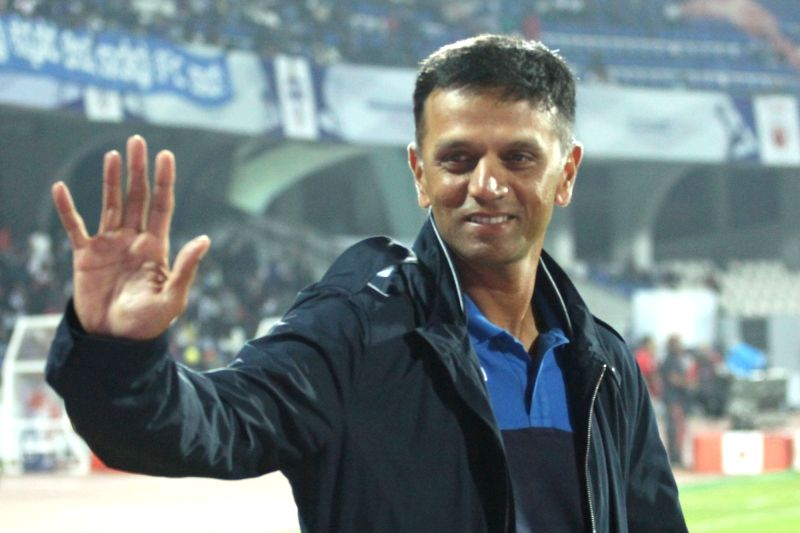 Former cricketer Rahul Dravid during an ISL match between Bengaluru FC and Jamshedpur FC in Bengaluru on Dec 21, 2017.(Image Source: IANS)
