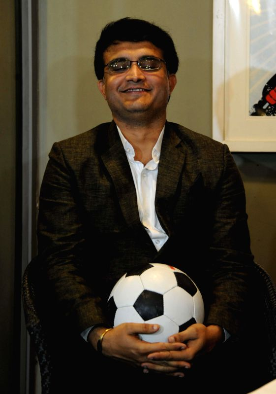 Former cricketer Saurav Ganguly during a press conference of Indian Super League in Kolkata on April 14, 2014.