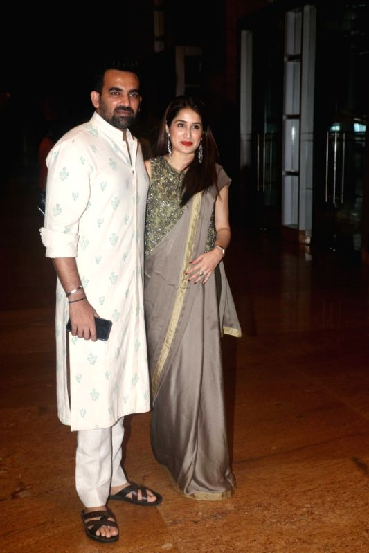 Former cricketer Zaheer Khan with his wife Sagarika Ghatge during sangeet ceremony of All India Football Federation (AIFF) President Praful Patel's daughter Poorna Patel  in Mumbai on July ... - Zaheer Khan, Praful Patel and Poorna Patel