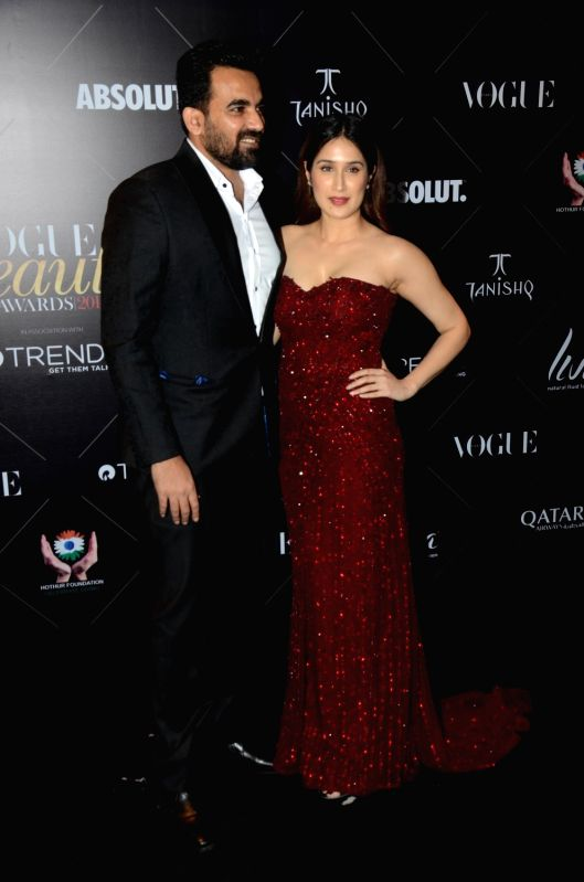 "Former cricketer Zaheer Khan with his wife Sagarika Ghatge at the red carpet of ""Vogue Beauty Awards"" in Mumbai on July 31, 2018. - Zaheer Khan"