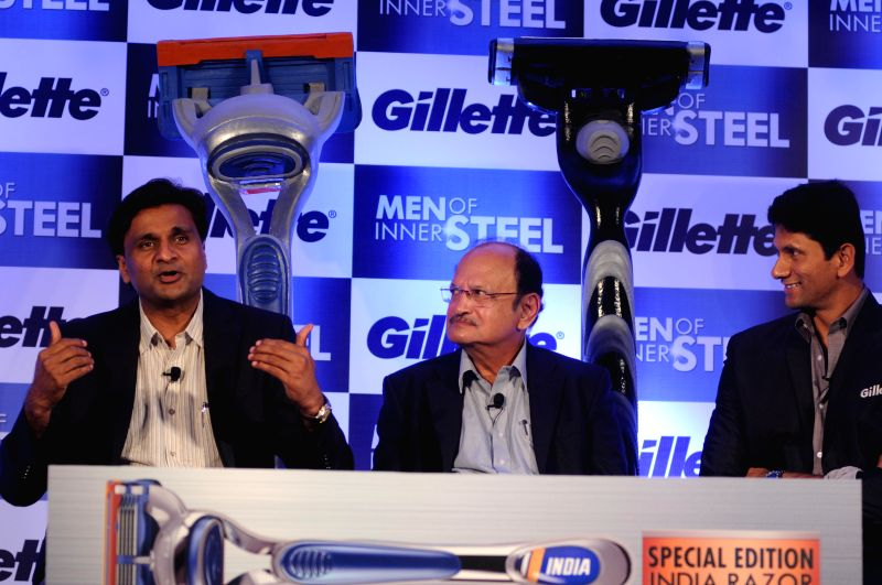 Former cricketers Javagal Srinath, Ajit Wadekar and Venkatesh Prasad during launch of a brand of safety razors from Gillette in New Delhi on April 22, 2014.