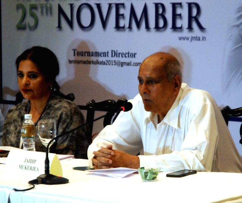 Former Davis Cup captain Jaidip Mukerjea addresses a press conference in Kolkata on Oct 27, 2015.