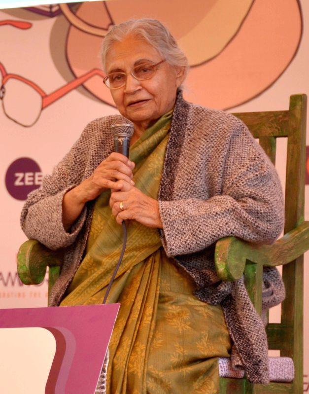 Former Delhi chief minister Sheila Dikshit during Jaipur Literature Festival at Diggi Palace, on Jan 27, 2018. - Sheila Dikshit