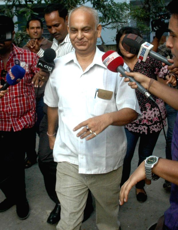 Former Director General of Assam Police Shankar Prasad Barua comes out after being interrogated by CBI in connection with multi-crore Saradha Group chit fund scam in Guwahati on Aug 28, 2014.