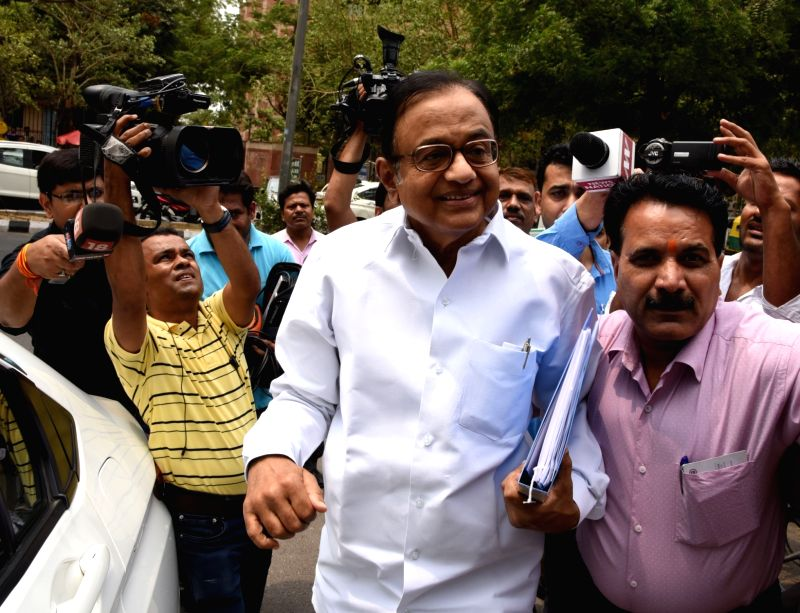 Former Finance Minister and Congress leader P. Chidambaram arrives at CBI Headquarters for questioning in connection with its ongoing probe into the INX Media corruption case in New Delhi ...