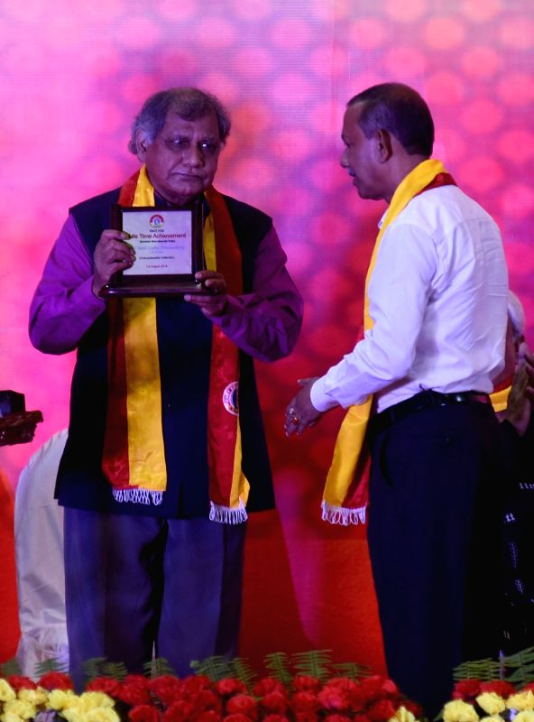 Former footballer Sunil Bhattacharya being felicitated during 99th Foundation Day of East Bengal Football Club in Kolkata, on Aug 1, 2018.