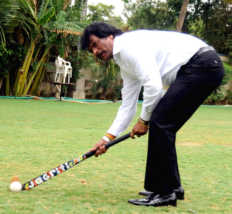 Former Hockey player Dhanraj Pillay during a talent hunt tour in Ahmedabad on July 3, 2014.