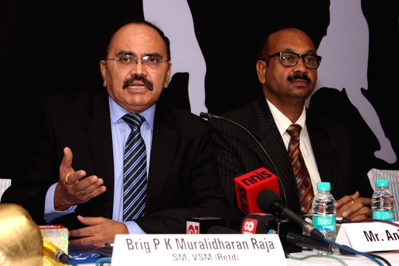Former Indian Amateur Boxing Federation (IABF) secretary general Brig. PK Muralidharan Raja addresses a press conference at the launch of pro boxing body in India, New Delhi on July 8, ...