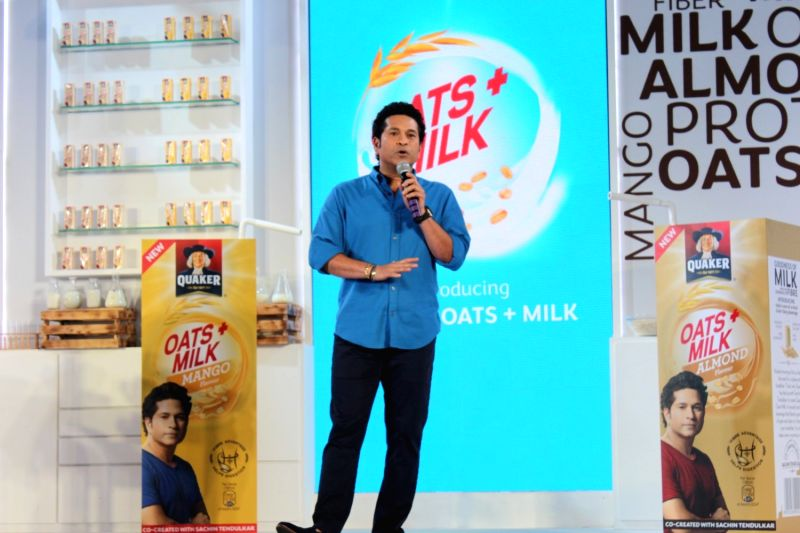 Former Indian cricket player Sachin Tendulkar during the launch of Quaker Oats+Milk, in Mumbai, on May 16, 2017. - Sachin Tendulkar