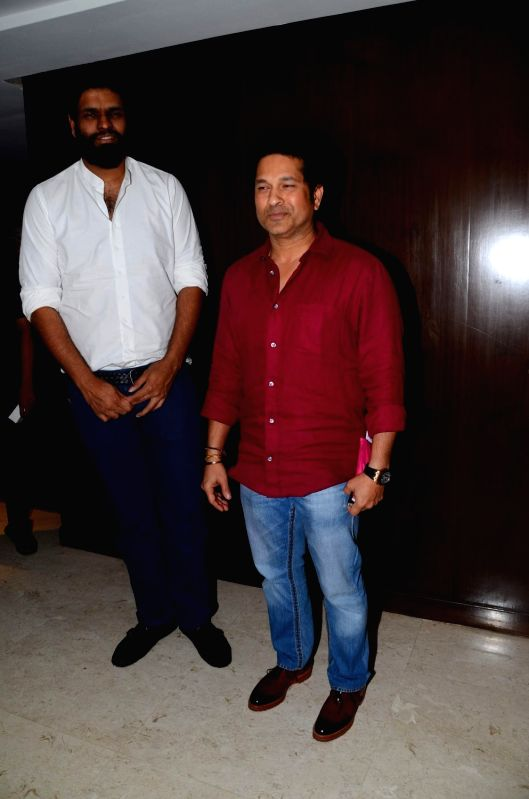 Former Indian cricket player Sachin Tendulkar and Producer of the Sachin Project Ravi Bhagchandka during the media interaction of film Sachin: A Million Dreams in Mumbai on May 12, 2017. - Sachin Tendulkar