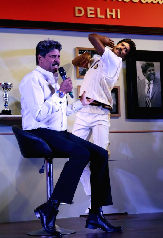 Former Indian cricketer Kapil Dev unveils his wax figure at Madame Tussauds in New Delhi on May 11, 2017. - Kapil Dev