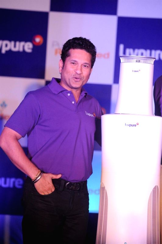 Former Indian cricketer Sachin Tendulkar during the launch of Luminous Water Technologies's Livpure water purifier in Mumbai on Dec 4, 2015.