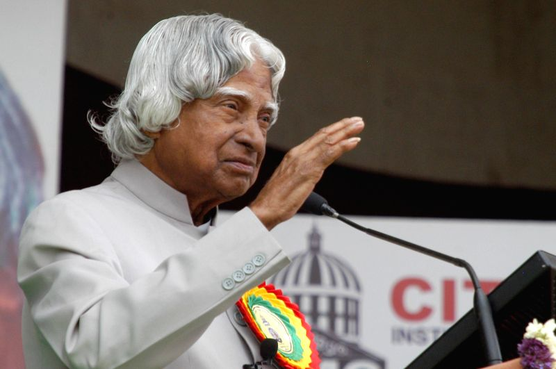Former Indian President APJ Abdul Kalam addresses during a seminar on 'Role of Youth in Nation Building' in Bangalore on May 2, 2014.