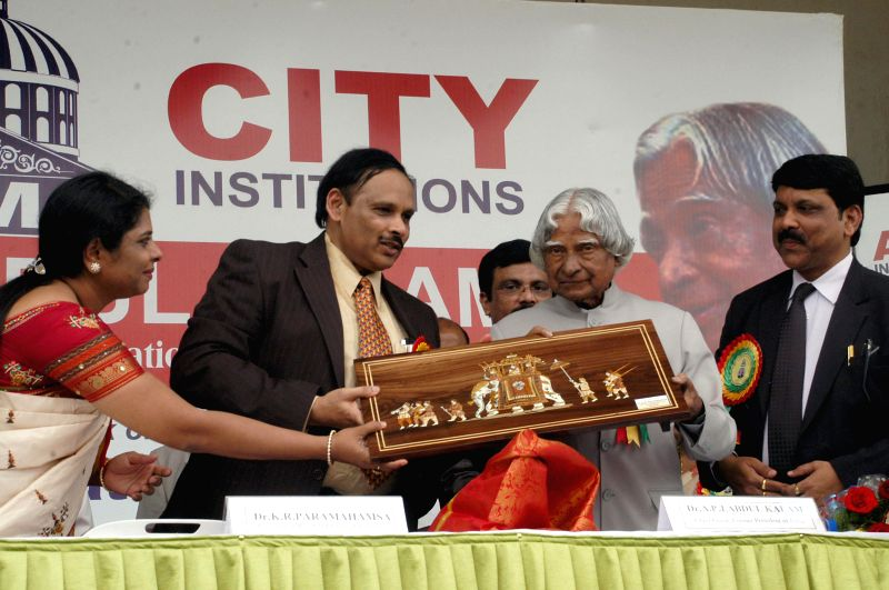 Former Indian President APJ Abdul Kalam during a seminar on 'Role of Youth in Nation Building' in Bangalore on May 2, 2014.