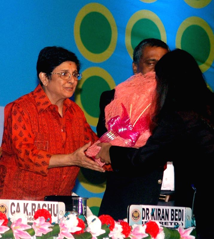 Former IPS officer and social activists Kiran Bedi during a school program in Kolkata on July 26, 2014.