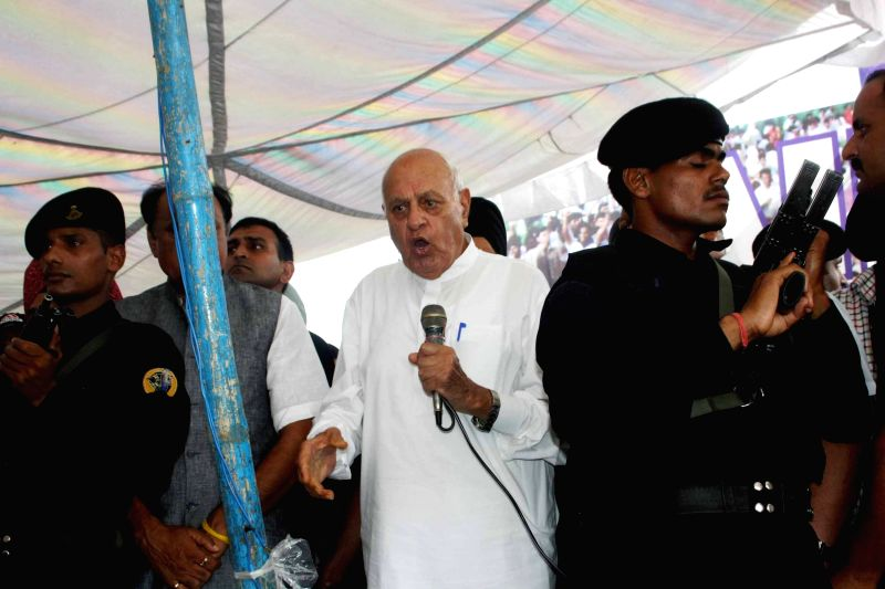 Former Jammu and Kashmir chief minister Farooq Abdullah addresses supporters of the AIIMS coordination committee and proposed that an all-party delegation meets Prime Minister Narendra Modi to ... - Farooq Abdullah and Narendra Modi