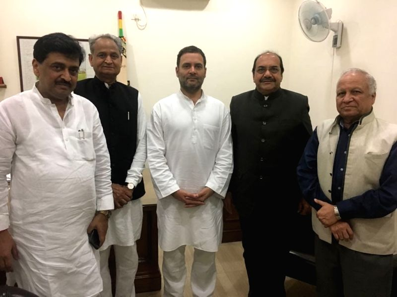 Former Judge of the Bombay and Allahabad High Courts, Justice Abhay Mahadeo Thipsay who joined Congress with party president Rahul Gandhi, Ashok Chavan, Kumar Ketkar and Ashok Gehlot. - Rahul Gandhi