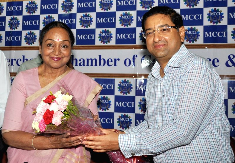 "Former Lok Sabha Speaker Meira Kumar and MCCI president, Hemant Bangur during interactive session on ""Challenges of Parliamentary Democracy in India"" at Merchant Chamber of ... - Meira Kumar"