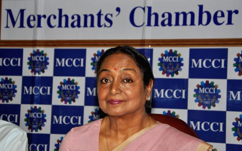 "Former Lok Sabha Speaker Meira Kumar during interactive session on ""Challenges of Parliamentary Democracy in India"" at Merchant Chamber of Commerce & Industry in Kolkata on May ... - Meira Kumar"