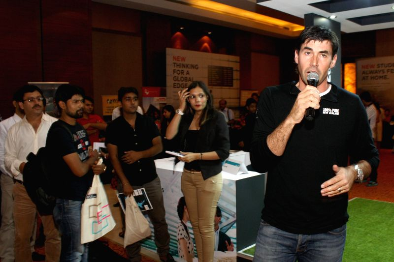 Former New Zealand cricket captain Stephen Fleming at the inauguration of New Zealand Education Fair in New Delhi on Aug. 30, 2014. - Stephen Fleming