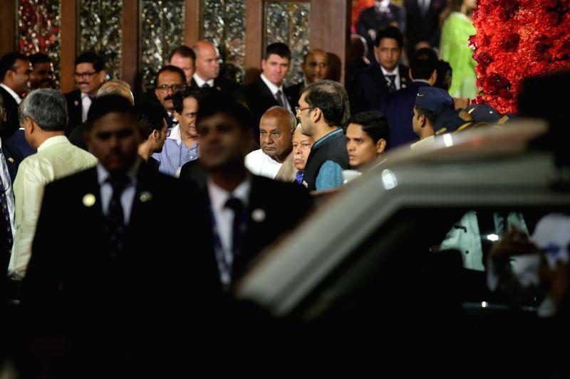 Former PM and JD(S) supremo HD Deve Gowda at the wedding ceremony of industrialist Mukesh Ambani's daughter Isha Ambani and Anand Piramal at Antilia in Mumbai on Dec 12, 2018. - Mukesh Ambani and Isha Ambani