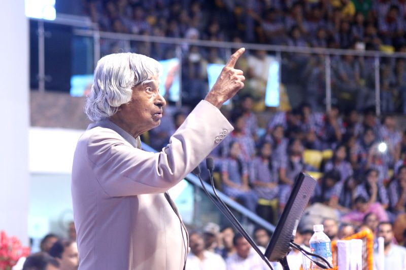 Former president of India A. P. J. Abdul Kalam addresses during a programe organised to launch Rashtriya Avishkar Abhiyan at Talkatora Stadium in New Delhi, on July 9, 2015.